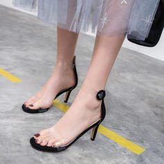 Women's Suede Rubber Stiletto Heel Sandals Pumps Peep Toe With Sparkling Glitter Buckle shoes