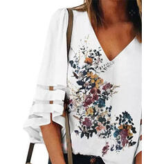 Print Floral V-Neck Flare Sleeve 3/4 Sleeves Casual Blouses