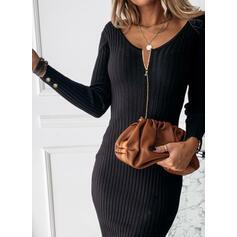 Μονόχρωμο V-λαιμός Καθημερινό Στενό Φόρεμα Πουλόβερ