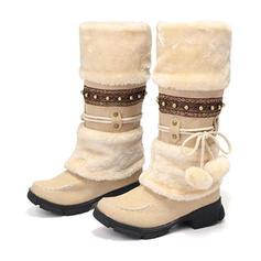 Pentru Femei Piele de Căprioară Toc jos Cizme până la jumătatea gambei Cizme de Iarnă cu Imitaţie de Perlă pantofi