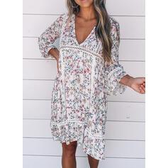 Print/Floral 3/4 Sleeves Shift Knee Length Casual/Boho/Vacation Tunic Dresses