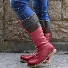 Γυναίκες PU Χοντρό φτέρνα Μίνι μπότες Με Κέντημα-επάνω παπούτσια