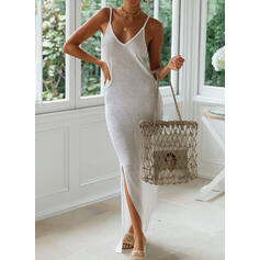 Sólido Sin mangas Cubierta Camisón Casual/Vacaciones Maxi Vestidos