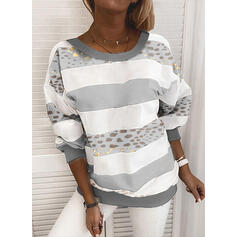 Color Block Leopard rund hals Lange ærmer Sweatshirts