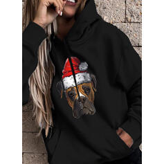 Animal Print Pockets Long Sleeves Christmas Sweatshirt