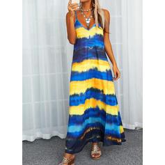 Print/Striped Sleeveless Shift Slip Casual Maxi Dresses