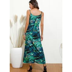 Imprimeu/Floral Fără Mâneci Tip A-line Casual Maxi Elbiseler