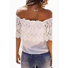 Lace Off the Shoulder Short Sleeves Casual Blouses