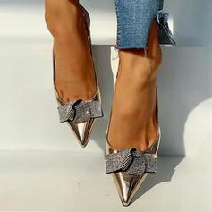 Mulheres Couro Salto agulha Bombas com Bowknot sapatos