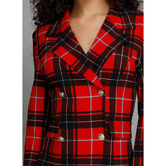 Plaid Long Sleeves Shift Above Knee Casual/Elegant Dresses
