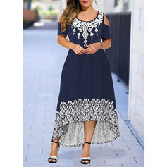 Print Short Sleeves A-line Asymmetrical Casual Skater Dresses