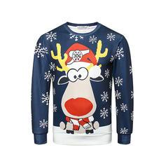 Hommes Polyester Inmprimé Cerf Sweat de Noël