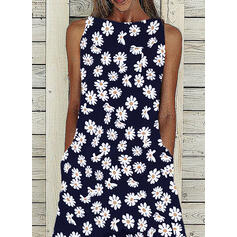 Print Sleeveless A-line Casual Midi Dresses
