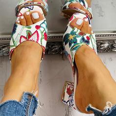 De mujer PU Tacón ancho Sandalias Encaje Pantuflas zapatos