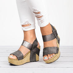 Mulheres PU Plataforma Sandálias Calços com Animal da Cópia sapatos