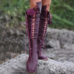 Femmes Similicuir Talon plat Bottes hautes avec Dentelle chaussures