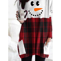 Drucken Gitter Rundhals Lange Ärmel Weihnachts-Sweatshirt