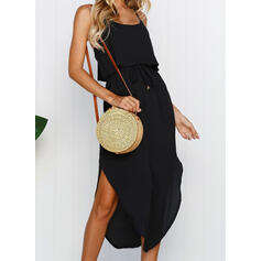 Solid Sleeveless A-line Little Black/Casual/Vacation Midi Dresses