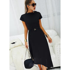 Solid Short Sleeves A-line Little Black/Casual Midi Dresses