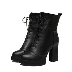 Dla kobiet Zamsz Obcas Slupek Zakryte Palce Kozaki Botki Martin Buty Z Sznurowanie obuwie