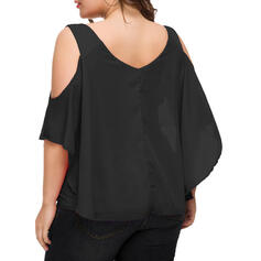 Solid Cold Shoulder 1/2 Sleeves Casual Plus Size Blouses
