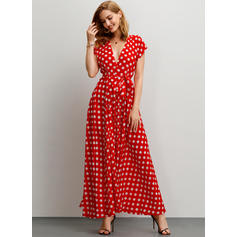 PolkaDot Short Sleeves A-line Maxi Casual Dresses