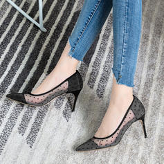 Women's Mesh Stiletto Heel Pumps Closed Toe With Hollow-out shoes