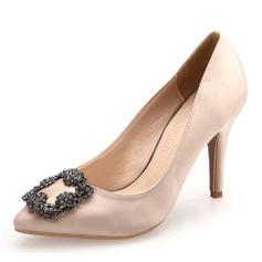 De mujer satén sedoso Tacón stilettos Salón con Rhinestone zapatos
