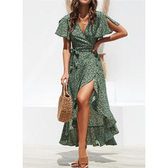 Print Short Sleeves/Split Sleeve A-line Asymmetrical Casual/Vacation Dresses