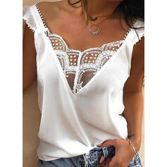 Solid Patchwork Lace V-Neck 3/4 Sleeves Casual Blouses