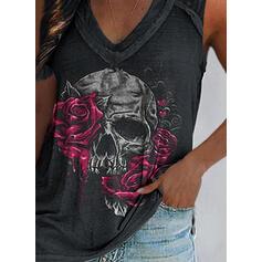 Kwiatowy Serce Nadruk Dekolt w kształcie litery V Bez Rękawów Koszulki bez rękawów