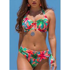 Kwiatowy Nadruk Wiązany na szyi Dekolt w kształcie litery V Seksowny Wintage Świeży Bikini Stroje kąpielowe
