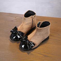 Flicka rund tå Stängt Toe Boots Mocka platt Heel Platta Skor / Fritidsskor Stövlar Flower Girl Shoes med Bowknot Bandage Zipper