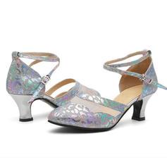 Bayanlar Balo topuk Sandalet Parlak parıltı Ile Toka Oymak Latince
