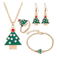 Stylish Christmas Tree Father Christmas Paper With Gold Plated Jewelry Sets (Set of 4)