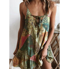 Print Sleeveless Shift Above Knee Sexy/Casual/Vacation Dresses