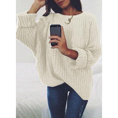 Couleur unie Gros tricot Col rond Pulls