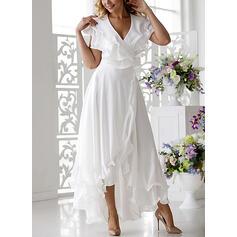 Jednolita Krótkie rękawy W kształcie litery A Casual/Elegancki Midi Sukienki