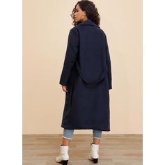 Polyester Dlouhé rukávy Jednobarevný Kabáty na tělo
