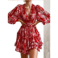 Print Long Sleeves A-line Above Knee Sexy/Party Dresses
