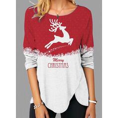 Boże Narodzenie Blok Koloru Nadruk Wytłaczany Renifer Okrągły dekolt Długie rękawy T-shirty