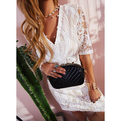 Lace/Solid 1/2 Sleeves Sheath Above Knee Elegant Dresses