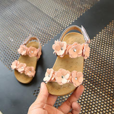 Girl's Leatherette Peep Toe Sandals Flats Flower Girl Shoes With Flower