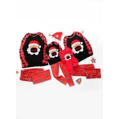 Julemanden Farve-Blok Cartoon Familie Matchende Pyjamas
