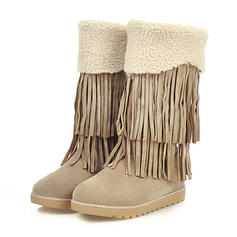 Women's Suede Flat Heel Mid-Calf Boots Snow Boots With Tassel shoes