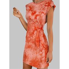 Druck/Tie Dye A-Linien-Kleid Über dem Knie Lässige Kleidung Skater Kleider