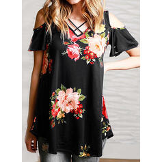 Print Floral Cold Shoulder Short Sleeves Casual Blouses