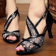 Femmes Similicuir Mesh Sandales Escarpins Latin Chaussures de danse