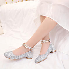 Women's Leatherette Chunky Heel Pumps With Pearl Sequin Buckle Jewelry Heel shoes