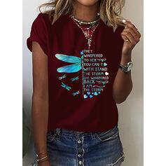Padrão Animal Figura Coração Gola Redonda Manga Curta Casual Camisetas